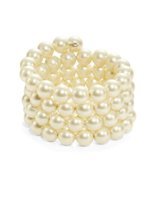 Kenneth Jay Lane | Metallic Faux Pearl Coil Bracelet | Lyst