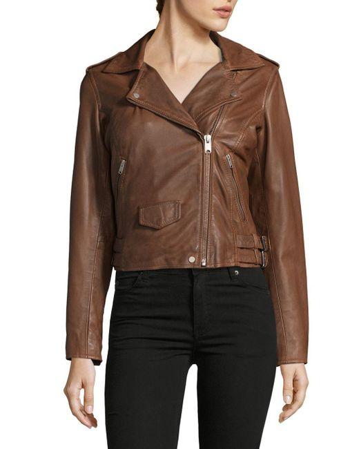 Marc New York | Brown Wesley Leather Motor Jacket | Lyst