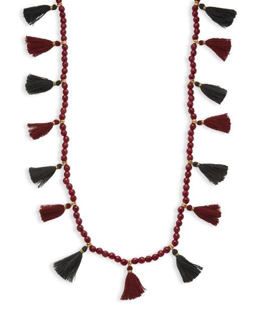 Panacea   Red Bead Strand Tassel Necklace   Lyst