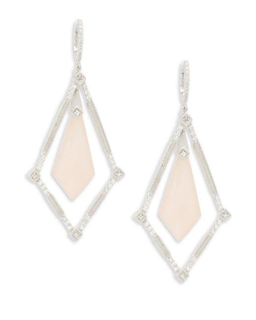 Jude Frances   Pink Encore Sterling Silver Elongated Kite Earrings   Lyst