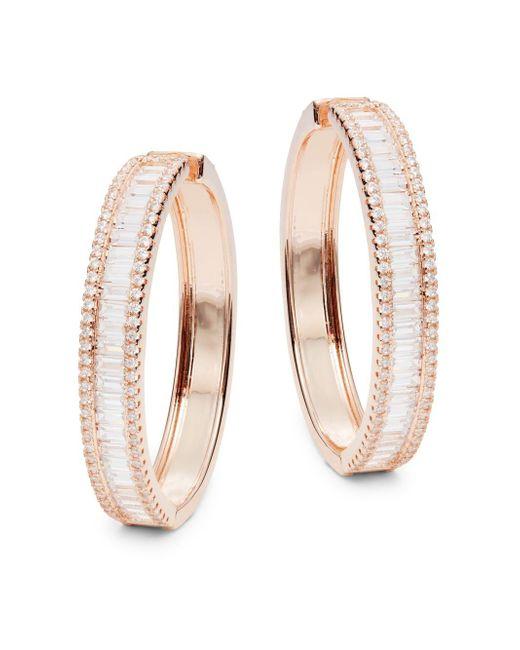 Saks Fifth Avenue | Metallic Rose Goldtone & Cubic Zirconia Hoop Earrings | Lyst