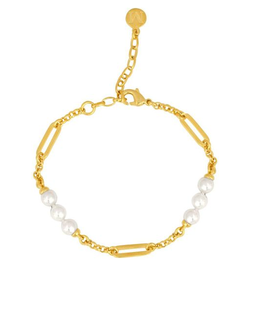 Majorica | White Modern Metal 6mm- 8mm Organic Man-made Pearls Goldplated Bracelet | Lyst