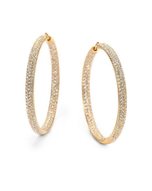 "Adriana Orsini - Metallic Pavà Crystal & 18k Goldplated Inside-outside Large Hoop Earrings/1.75"" - Lyst"