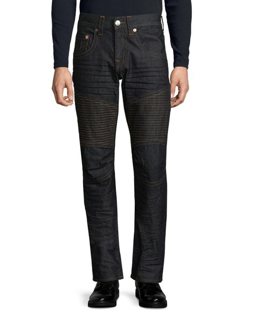 True Religion   Blue Slim-fit Run-stitch Moto Jeans for Men   Lyst