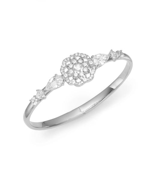 Adriana Orsini | Metallic Camelot Hinged Bangle Bracelet/silver | Lyst