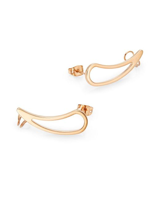 Vita Fede | Pink Teardrop Cuff Earrings/rose Goldtone | Lyst