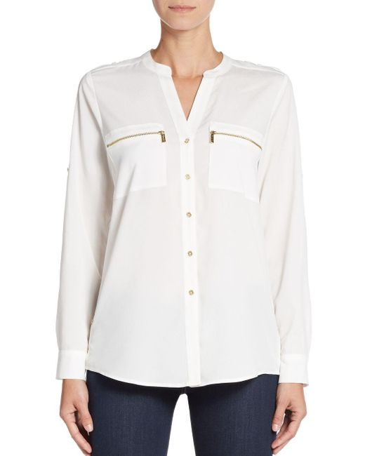 Calvin Klein | White Roll-sleeve Blouse | Lyst