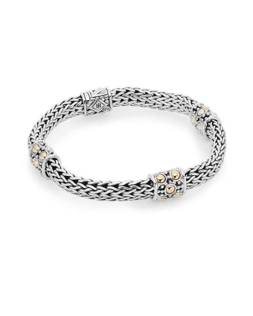 John Hardy | Metallic Dot 18k Yellow Gold & Sterlling Silver Station Bracelet | Lyst