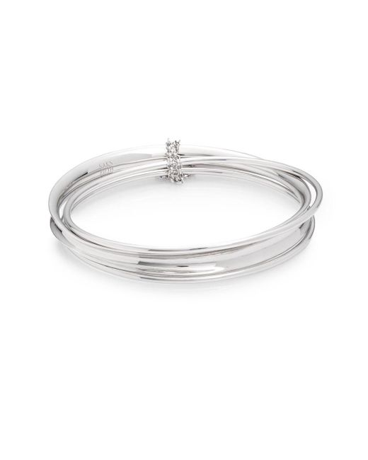 Saks Fifth Avenue | Metallic Mixed Sterling Silver Bangle Bracelet Set | Lyst