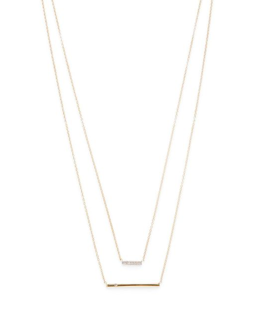 Kacey K | Metallic Diamond & 14k Gold Double Bar Necklace | Lyst
