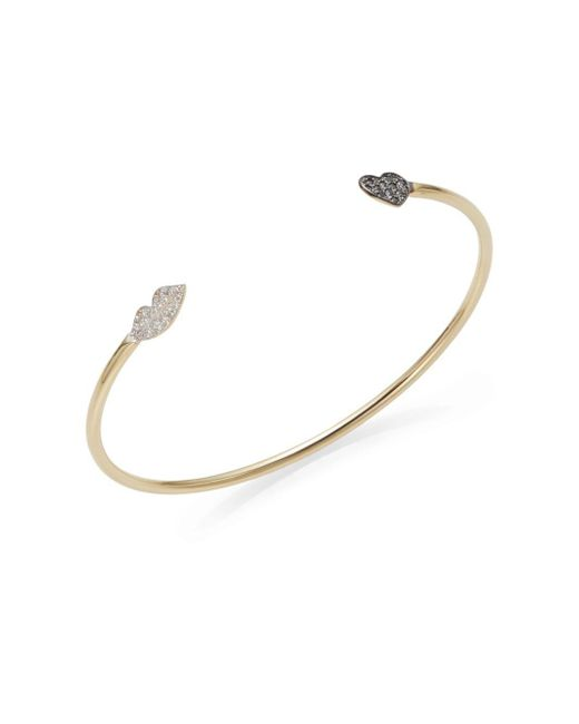 Kacey K Fine Jewelry | Metallic White Diamond, Black Diamond & 14k Gold Heart & Lips Bracelet | Lyst