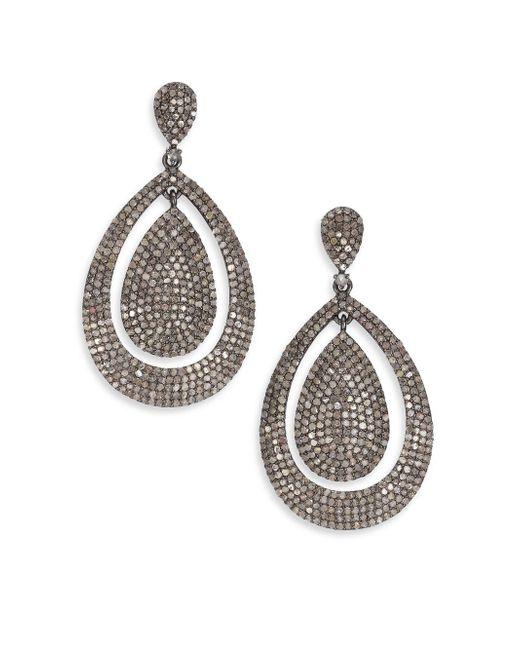 Bavna   Metallic Pavé Diamond & Sterling Silver Drop Earrings   Lyst