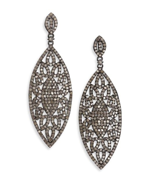 Bavna | Multicolor 5.88 Tcw Diamond & Sterling Silver Marquis Drop Earrings | Lyst