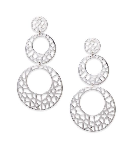 Ron Hami | Metallic Lace Sterling Silver Cutout Triple Drop Earrings | Lyst