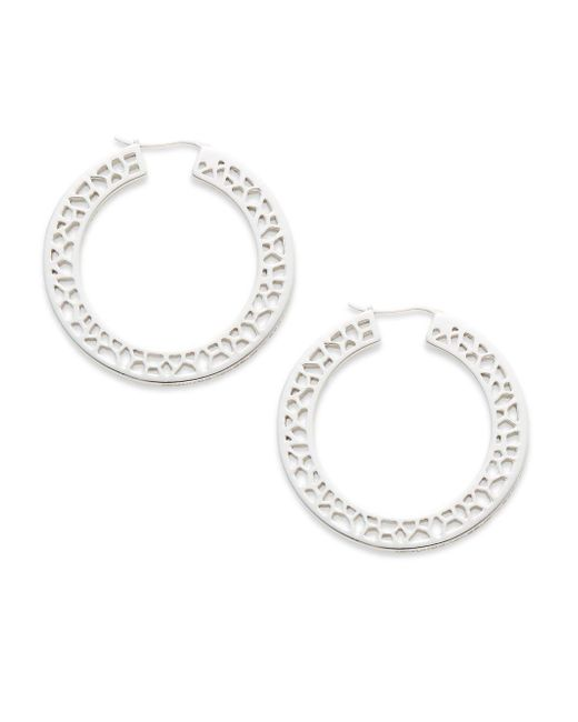 Ron Hami | Metallic Lace White Topaz & Sterling Silver Cutout Hoop Earrings/1.5"