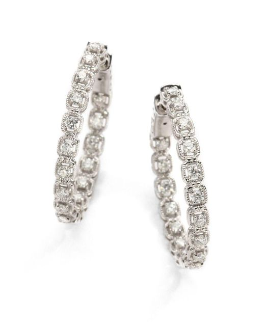 "Saks Fifth Avenue | 1 Tcw Ideal Cut Colorless Certified Diamond & 14k White Gold Hoop Earrings/1"" | Lyst"