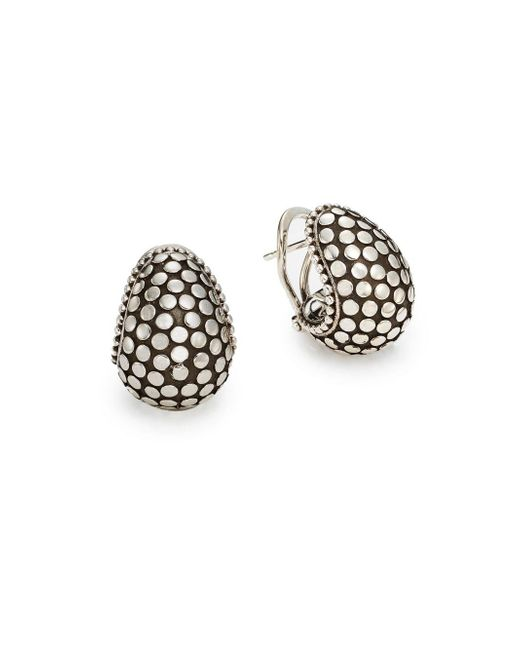 John Hardy | Metallic Dotted Sterling Silver Buddha Belly Earrings | Lyst