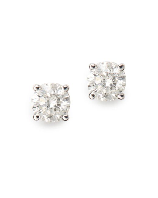 Saks Fifth Avenue | 0.75 Tcw Certified Diamond & 14k White Gold Stud Earrings | Lyst
