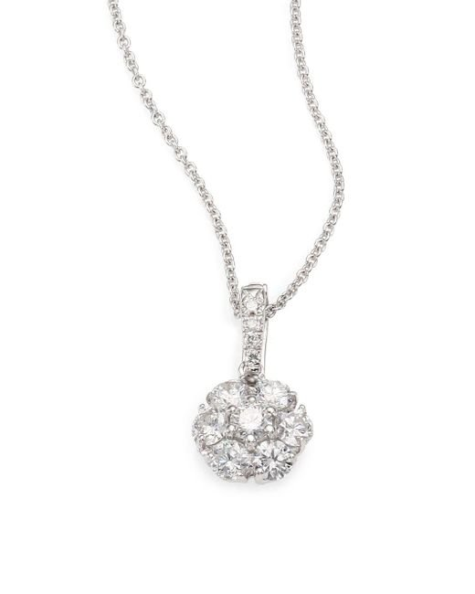Saks Fifth Avenue | Blue 0.70 Tcw Certified Diamond & 18k White Gold Flower Pendant Necklace | Lyst