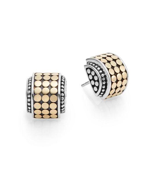 John Hardy | Metallic Dot 18k Yellow Gold & Sterling Silver Hi-way Earrings | Lyst