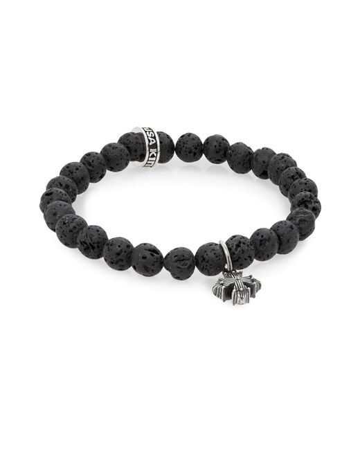 King Baby Studio | Black Lava Rock & Sterling Silver Beaded Cross Bracelet | Lyst