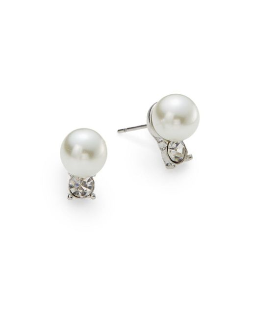 Ak Anne Klein | Natural Faux Pearl & White Stone Stud Earrings | Lyst