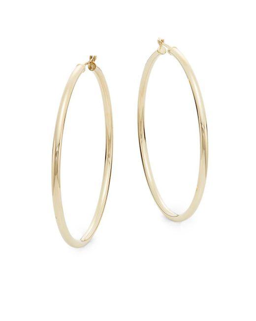 """Saks Fifth Avenue - Metallic 14k Yellow Gold Hoop Earrings/2"""" - Lyst"""