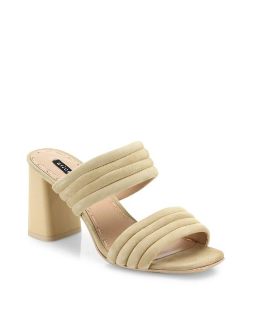 Alice + Olivia - Natural Colby Suede Block Heel Slide Sandals - Lyst