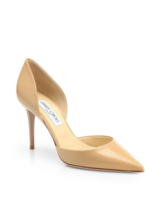 Jimmy Choo   Natural Addison 80 Leather D'orsay Pumps   Lyst