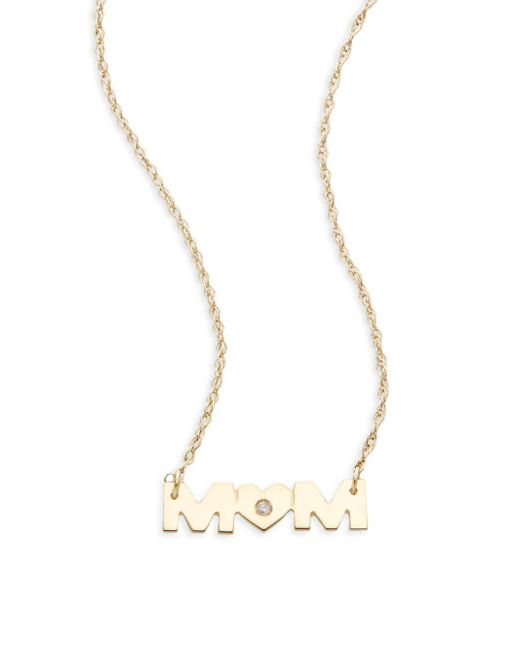 Saks Fifth Avenue | Metallic 14k Yellow Gold Mom Pendant Necklace | Lyst