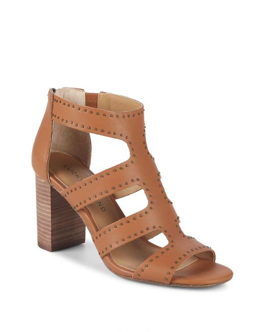 Lucky Brand - Brown Tahira Studded Leather Sandals - Lyst