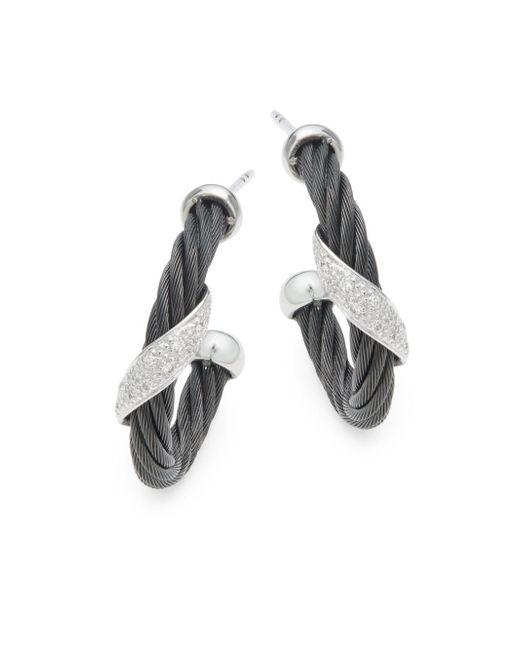Alor - Black 18k White Gold & Sterling Silver Diamond Studded Earrings - Lyst