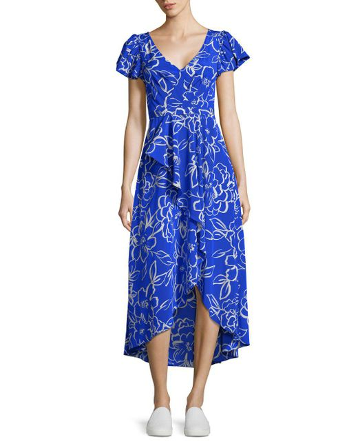 Tracy Reese - Blue Cascade Printed Hi-lo Dress - Lyst