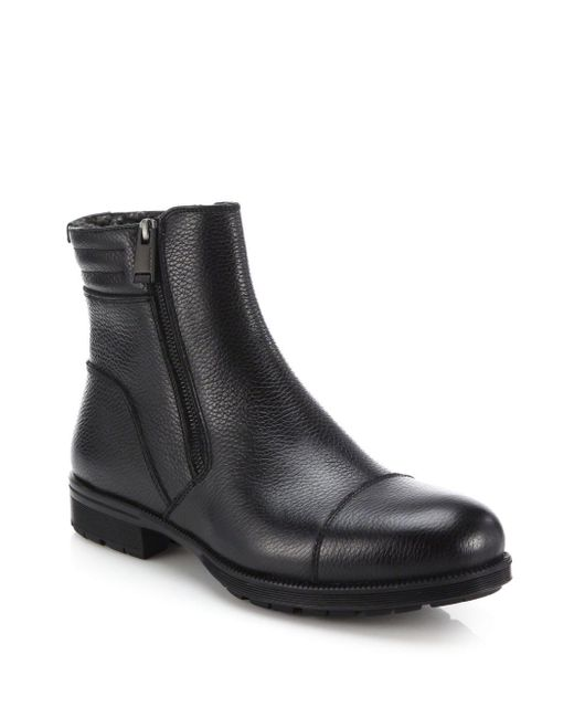 Aquatalia Black Hugh Shearling-lined Leather Ankle Boots