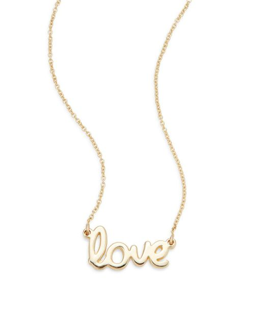 Saks Fifth Avenue | Metallic 14k Yellow Gold Love Necklace | Lyst