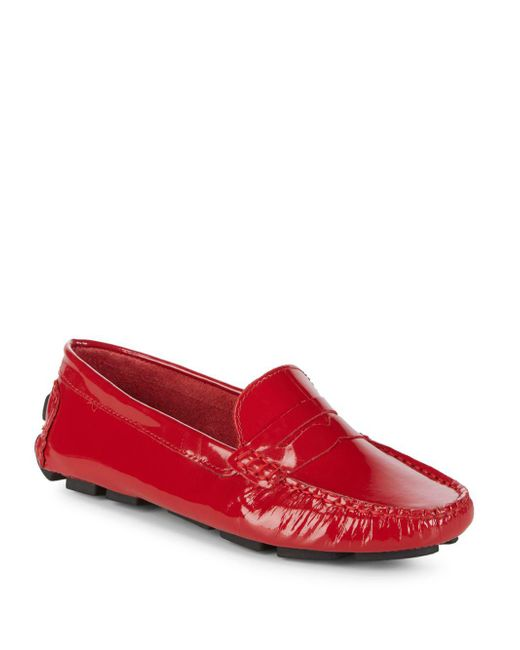 Saks Fifth Avenue - Red Honeycomb Embossed Leather Penny Drivers - Lyst