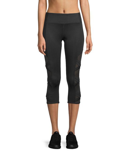 Marc New York - Black Mesh Cropped Leggings - Lyst