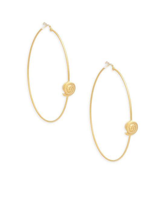 Valentino | Metallic Matte Goldtone Hoop Earrings | Lyst