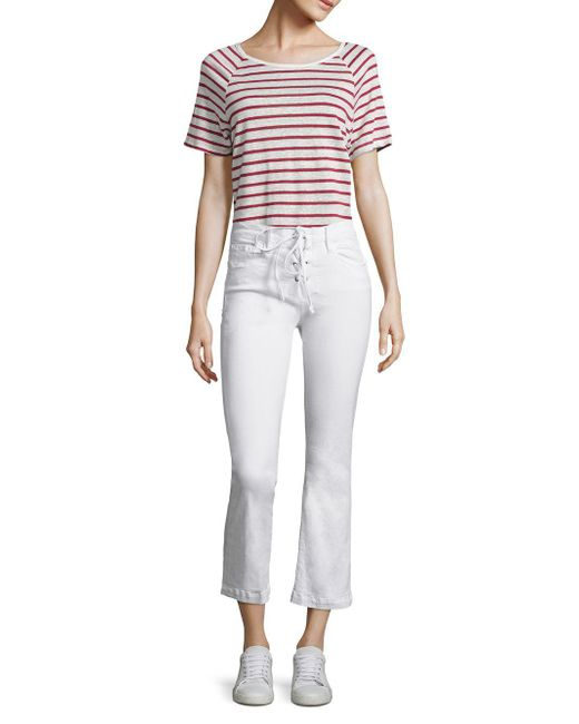 Lyst - Frame Le Cropped Mini Bootcut Lace-up Jeans in White - Save ...