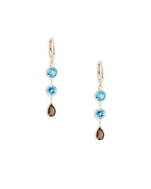 Saks Fifth Avenue - Blue Triple Drop Topaz Earrings - Lyst