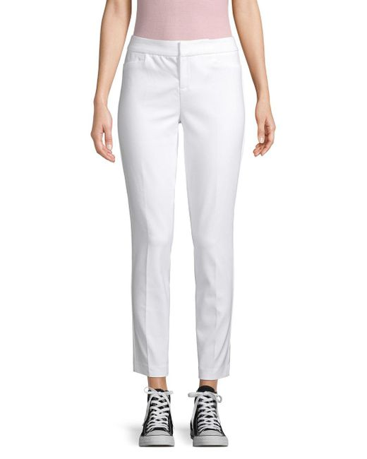 Saks Fifth Avenue - White 5th Ave Mid Rise Slim Pants - Lyst