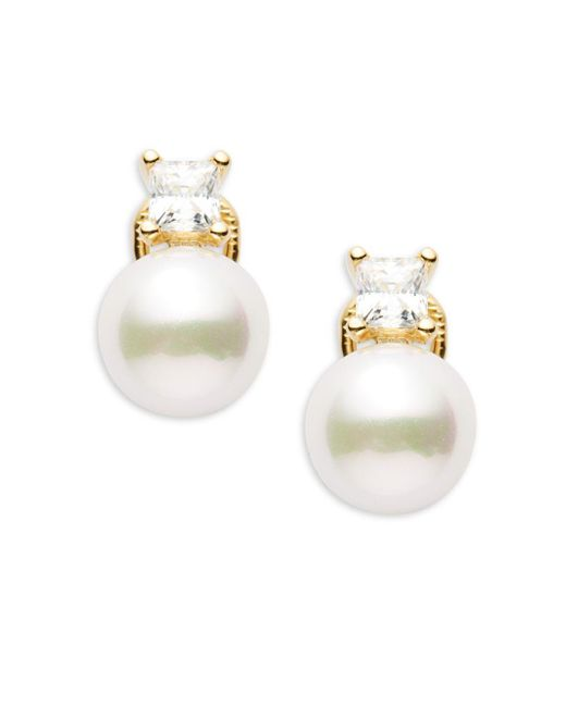 Majorica - 10mm White Faux Pearl & Sterling Silver Hollow Fill Earrings - Lyst