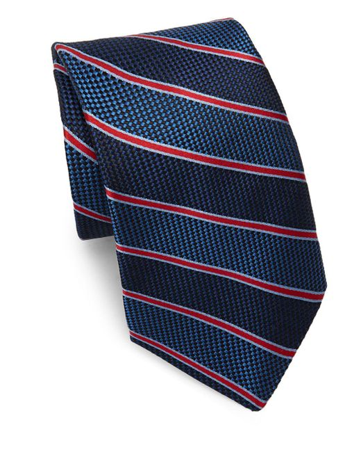 Saks Fifth Avenue | Blue Silk Textured Stripe Tie for Men | Lyst