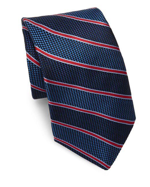 Saks Fifth Avenue - Blue Silk Textured Stripe Tie for Men - Lyst