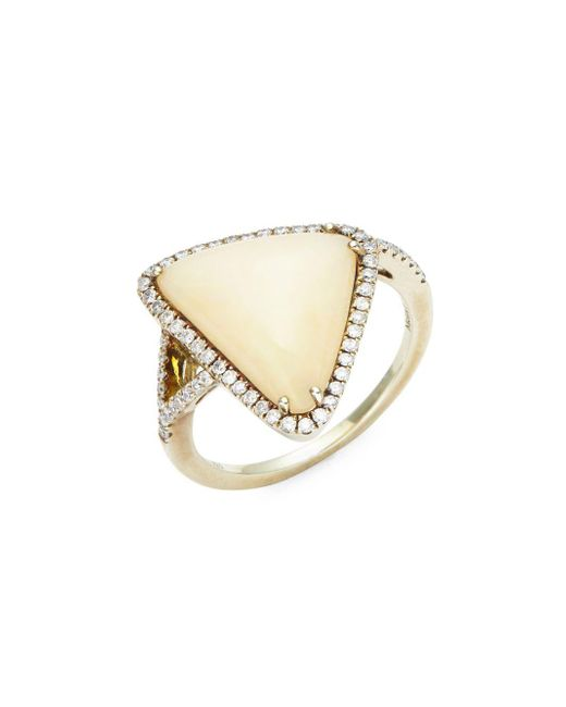 Meira T | Metallic White Diamond, Opal & 14k Yellow Gold Ring | Lyst