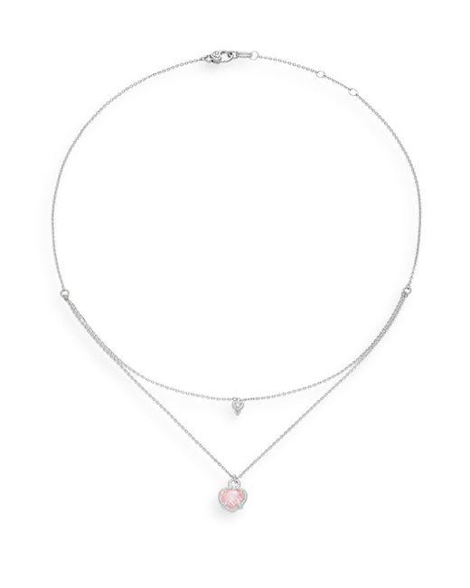 Judith Ripka | Metallic La Petite Diamond, Crystal & Sterling Silver Double-layer Heart Pendant Necklace | Lyst