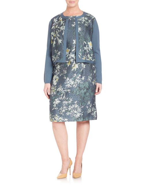 Lafayette 148 New York - Blue Wool Floral Cloque Shrug - Lyst