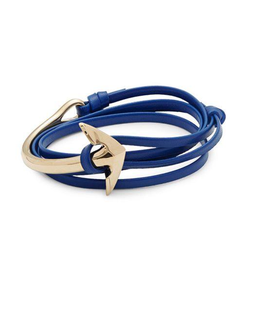 Miansai - Blue Stainless Steel & Leather Anchor Bracelet - Lyst