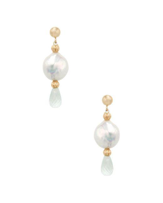 Arthur Marder Fine Jewelry - Metallic 14k Yellow Gold, Button Freshwater Pearl & Aquamarine Drop Earrings - Lyst
