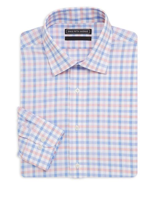 Saks Fifth Avenue Black - Blue Windowpane Cotton Dress Shirt for Men - Lyst